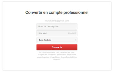 convertir son compte personnel Pinterest en compte business