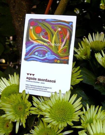 Carte de visite de l'artiste Agnès Mordancé