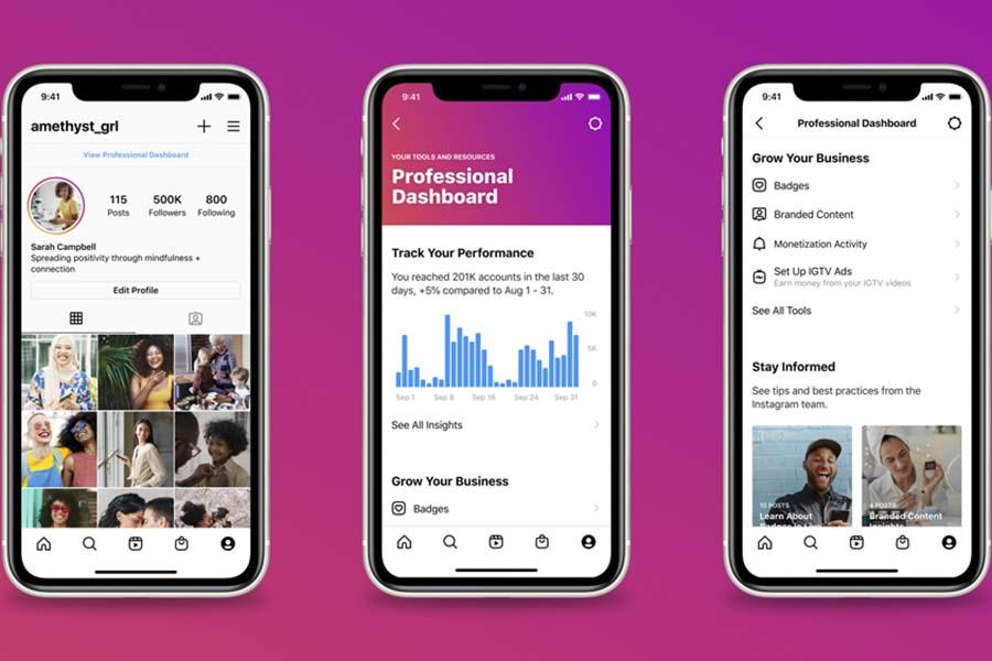 Instagram : un nouveau dashboard pour les comptes créateurs et professionnels